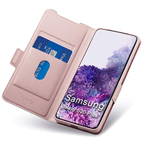 Aunote Samsung Galaxy S20 Plus Hülle, Handyhülle Samsung S20 Plus, Schutzhülle Samsung S20 Plus, Tasche S20 Plus, Klapphülle S20 Plus, Etui Flip Cover Hülle, Hülle S20 Plus klappbar. (4G/5G, Rosegold)