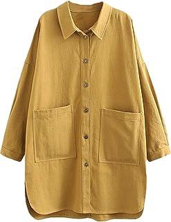 34b4a7425b Minibee Women's Cotton Linen Blouse Casual Lightweight Jacket Outfit Plus  Size