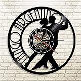 ERTOQ Reloj de Pared de Vinilo Pareja de Baile Record Clock Vintage Registro de Vinilo Regalo Hecho a Mano hogar Decoración 7 Colores luz Nocturna 30x30cm- con LED