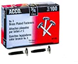 ACCO Brass Paper Fasteners, 3/4', Plated, 1 Box, 100 Fasteners/Box (71703)