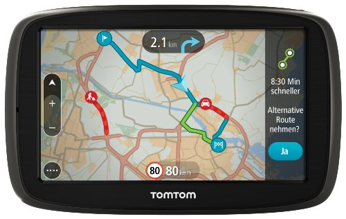 TomTom GO 50 Europe Traffic Navigationssystem (12.7 cm (5 Zoll) resistives Touch Display - Bedienung per Fingergesten, Lifetime TomTom Traffic & Maps)