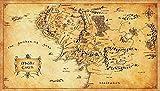 Puzzle 1000 piezas Póster de mapa del mundo de la Tierra Media de Hobbit, póster retro, estilo decoración del hogar puzzle 1000 piezas educa Juego de habilidad para toda la fa50x75cm(20x30inch)