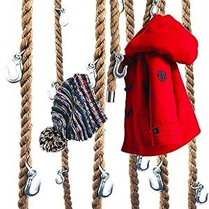 LeTOMA Garderobe aus Jute-Seil mit Metall-Haken zum Aufhängen an der Decke, Wand im Industrial-Design - Praktisch, elegant, platzsparend - 1x Tau-Schnur 160cm lang und 5 robuste Kranhaken aus Stahl