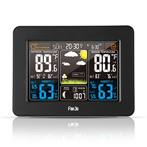 FanJu FJ3365B Digital Color Forecast Weather Station with Alert and Temperature/Humidity/Barometer/Alarm/Moon Phase/Weather Clock with Outdoor Sensor