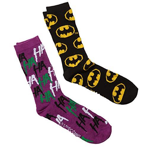Batman Logo & The Joker Ha Ha 2-Pack Crew Socks