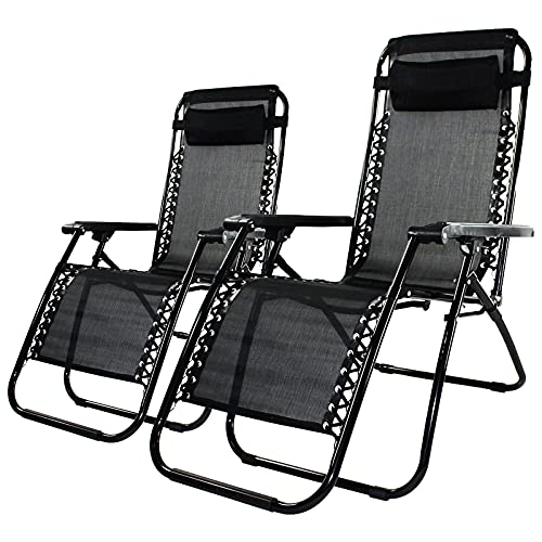 Set of 2 Outdoor Adjustable Zero Gravity Chair, Patio Folding Outdoor Lounge Chair Camp Reclining Chair with Pillows for Poolside Backyard and Beach,Black
