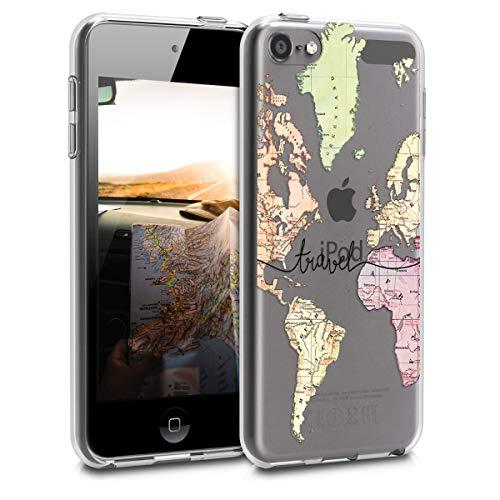 kwmobile Back-Cover Compatibile con Apple iPod Touch 6G / 7G (6a e 7a Generazione) - Custodia prottetiva Morbida Silicone TPU - Mappa del Mondo Nero/Multicolore/Trasparente