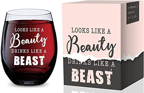2021 Stemless Wine Glass (Looks Like a Beauty Drinks lowest Like a Beast) Made of Unbreakable Tritan Plastic and Dishwasher Safe - wholesale 16 ounces online sale