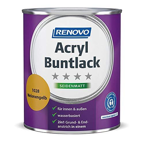 Acryl-Buntlack 2-in-1 750 ml RAL 1028 Melonengelb seidenmatt Renovo