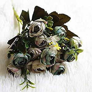 Artificial and Dried Flower 13 Flowers/1 Ble Artificial Camellia Buds Flowers Bouquet Silk Flower Wedding Party Home Table Decor