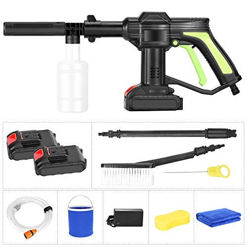 KOSIEJINN 21V Cordless Portable High Pressure Cleaner with 2.0 Ah Battery, Pressure Jet Washer with Cleaning Brush 6m Hose for Outdoor Cleaning House Wall or Window,Car etc