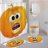 DGUOHAC Polyester-Stoff Badezimmer-Bezug mit Haken Tomaten-Kürbis Cartoon Obst Duschvorhang WC-Abdeckung Teppich Kissen Set 4-teilig