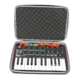 co2crea Hard Travel Case replacement for Akai Professional MPK Mini MKII | 25-Key Ultra-Portable USB MIDI Drum Pad Keyboard Controller (Travel Case with Foam)