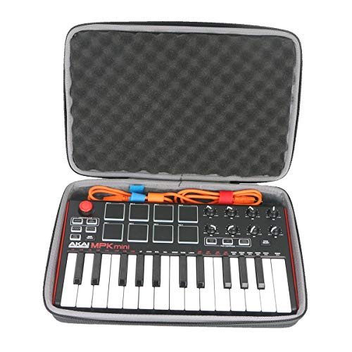 co2crea Hard Travel Case for Akai Professional MPK Mini MKII | 25-Key Ultra-Portable USB MIDI Drum Pad Keyboard Controller (Travel Case with Foam)