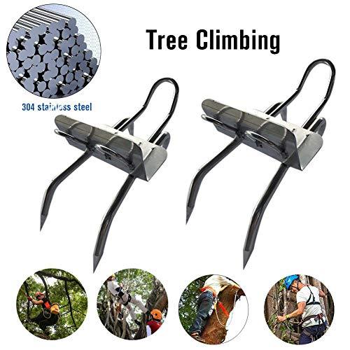 Rubyu Tree Climbing Spikes 304 Edelstahl 100Kg Maximale Tragfähigkeit Ideal Zum Üben Von Baumklettern Dschungelüberleben Obstpflücken Jagd, Einfach Zu Verwenden