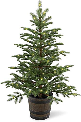National Tree Company 'Feel Real' Pre-lit Artificial Tree For Entrances and Christmas | Includes Pre-Strung White Lights and a Whiskey Barrel Pot | Norwegian Spruce - 4 ft