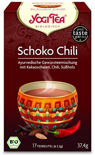Yogi Tee 10x Schoko Chili Bio YOGI TEA® I leckere ayurvedische Gewürz-Tee-Mischung - mit Kakao-Schalen Chili Süßholz uvm. I 170 Tee-Beutel - echte Bio-Qualität I Schokoladen-Tee 10 Päckchen
