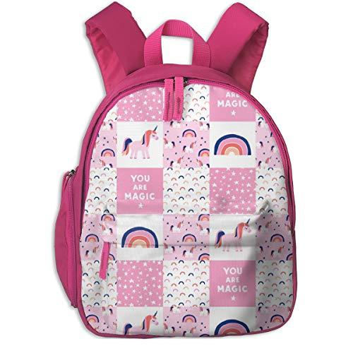 Mochila Infantil niña,Unicorn Patchwork - Pink and Blue_3821 - littlearrowdesign, para escuelas de niños Oxford Cloth (Rosa)