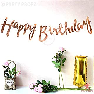 Party Propz Rose Gold Birthday Banner for Happy Birthday Decorations Items, Birthday Banner for Decoration