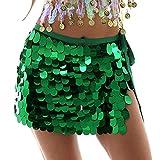 Sttiafay Falda de cadera para danza del vientre, por encima de la rodilla, lentejuelas, sirena y cadera, abrigo para carnavales Rave Disfraz para mujer (verde)