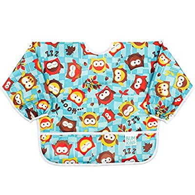Bumkins Sleeved Bib / Baby Bib / Toddler Bib / Smock, Waterproof, Washable, Stain and Odor Resistant, 6-24 Months - Owls