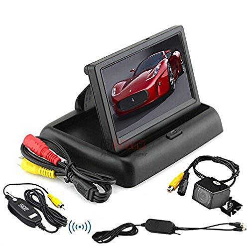 BW® 10,9 cm pliable voiture avec écran TFT LCD couleurs Écran arrière arrière 16 : 9 10,9 cm voiture moniteur + Caméra de recul sans fil