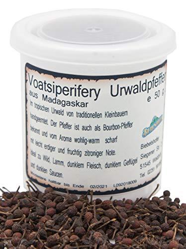 Voatsiperifery Urwaldpfeffer in Keramik-Vorratsdose, Bourbon-Pfeffer, ganz, Pfeffer-Spezialität aus Madagaskar in Keramikdose