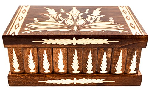 Handcrafted Wooden Jewelry Puzzle Box (Large) – Secret Hidden Key & Storage Compartment for Rings,...