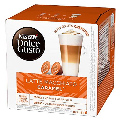 NESCAFÉ Dolce Gusto Latte Macchiato Caramel, 16 Kaffeekapseln, Arabica Robusta Mischung, Feines Karamell Aroma und leckerer Milchschaum, Aromaversiegelte Kapseln, 1er Pack (1 x 16 Kapseln)