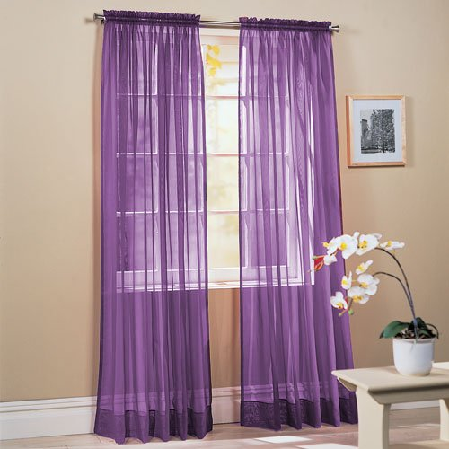 Comfy Deal 2 Pieces Beautiful Elegance Fully Stitched Window Sheer Voile Curtain Panel (Purple)