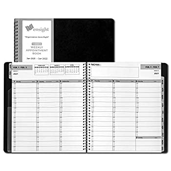 2021 Black Ensight Tabbed Appointment Book & Planner 8.5 x 11 inches Daily Hourly Weekly Planner Calendar and Schedule Book 15-Minute Slots Durable Fastening Business and Personal  2021 - Black