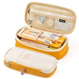 EASTHILL Big Capacity Pencil Pen Case Office College School Large Storage High Bag Pouch Holder Box Organizer Yellow Orange