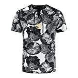 QiFei Herren T-Shirt Kurzarm Sommer Slim Casual Bedruckt Top Bluse Pullover Kurzärmliges Kurzarmshirt Ethno-Print Slim Fit Basic Oberteil Oberteil aus Baumwolle und Leinen