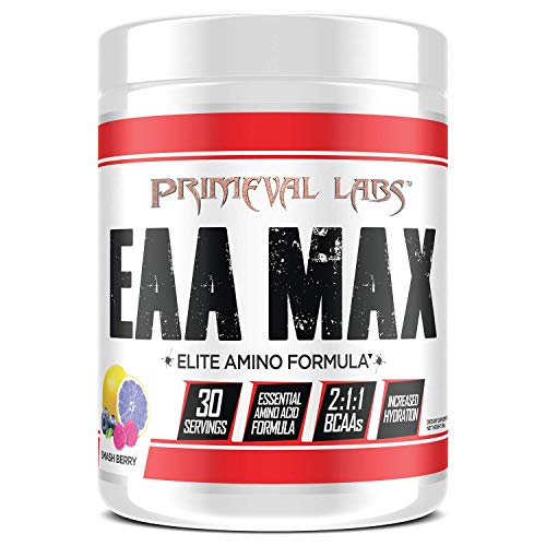 Primeval Labs EAA Max, Essential Amino Acids Supplement Powder, BCAAs, EAAs, Electrolytes, Enhance Performance, Support Hydration, Improve Muscle Recovery, Keto Friendly, Smashberry, 30 Servings