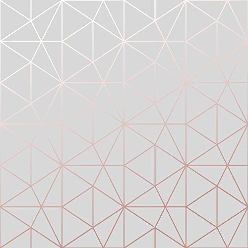 Metro -WOW009 World of Wallpaper Tapetemit geometrische Dreiecken -Grau und Roségold