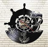 7 Colores con luz Arte de la Pared Reloj de Pared Ancla Barco Brújula Naval Vintage Marineros náuticos Disco de Vinilo Regalos de navegación Hechos a Mano 30 cm