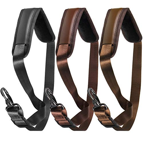 Yeshone 3 Pieces Saxophone Neck Straps Soft Sax Strap Leather Padded Saxophone Strap for Horn Tenor Baritone Alto Sax Soprano Clarinet and Other Music Instruments