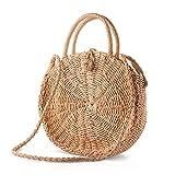 AtailorBird Damen Sommer Strandtasche Stroh Crossbody Tasche Rattan Tasche Handarbeit Umhängetasche Frauen Weben Handtasche für Arbeit Reise Outdoor - Karamell