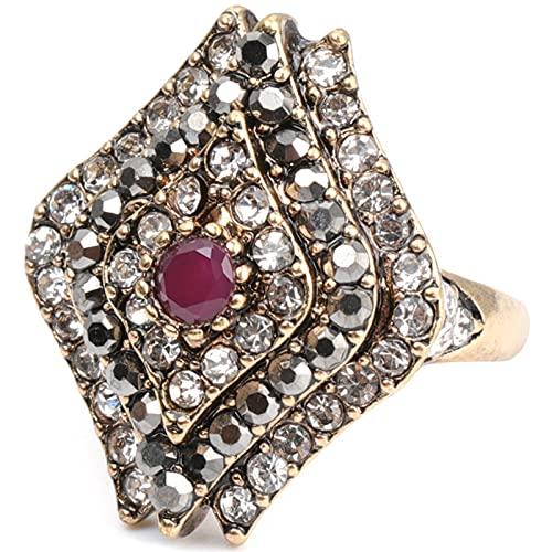 Ezzyso Anillo de Piedra Natural de Diamante Completo, Estadounidense Personalidad Retro Personalidad Anillo de aleación de Diamante Creativo joyería (2 Piezas),8