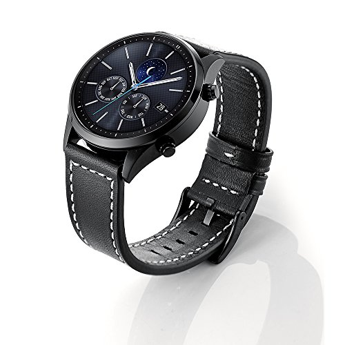 SUNDAREE Compatible con Correa Galaxy Watch 3 45MM/Galaxy Watch 46MM,22mm Cuero Reemplazo Banda Pulseras Smartwatch Correa for Samsung Galaxy Watch 46/Watch 3 45MM/Huawei Watch GT2 46/ TicWatc
