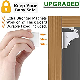 Child Safety Magnetic Cabinet Locks - Vmaisi 4 Pack Adhesive Baby Proofing Cabinets & Drawers Latches