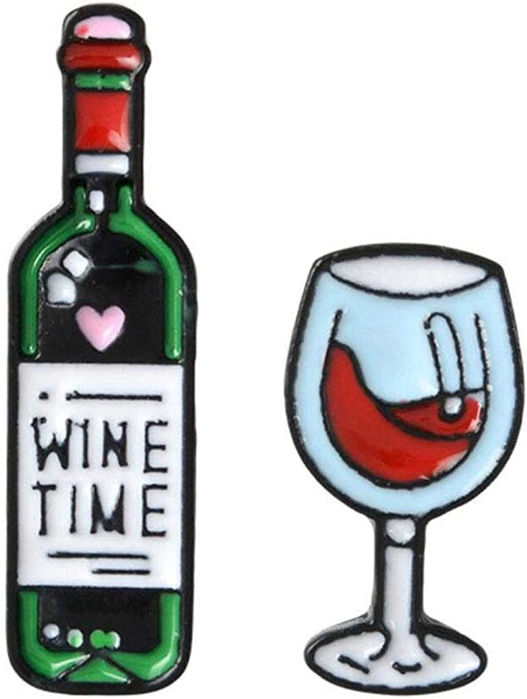 Charmart Wine Time Wine and Wine Glasses Lapel Pin 2 Piece Set Enamel Couple Brooch Pins Accessories Badge Gifts