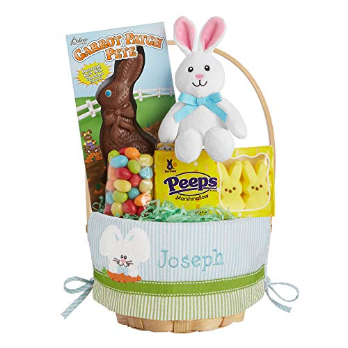 """Let's Make Memories Personalized Create Your Own Easter Basket - Blue Bunny Design - Candy Bundle Included - Customize with Any Name - 8"""""""