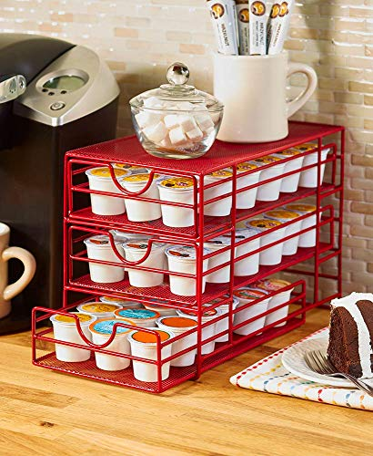 Compact MultiTiered Coffee Pod Kitchen Storage Rack  Red