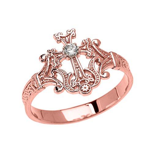 Damen Ring 9 Karat Rotgold Solitär Diamant Armenisch Kreuz Elegant