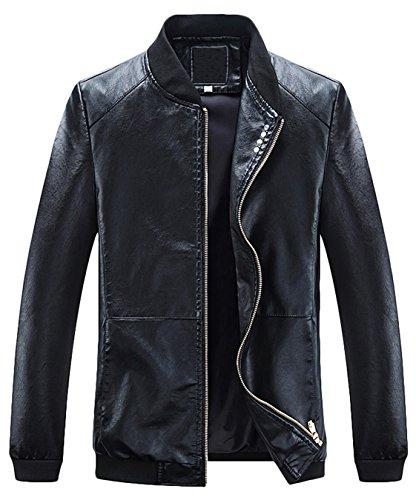 Youhan Men's Slim Full-Zip Coat Faux Leather Baseball Bomber Jacket (Medium, Black)