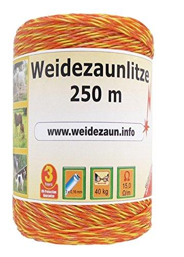 VOSS.farming Weidezaun Litze 250m, 3x0,16 NIRO, gelb-orange 2 für den Weidezaun