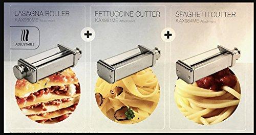 Kenwood KMM770 - Kit 3 Accessori Pasta (Sfogliatrice 10 misure/Lasagne, Spagetti Quadrati 2 mm, Fettuccine 6,5 mm) + Adattatore Omaggio Originale per Kitchen Machine e Coocking Chef