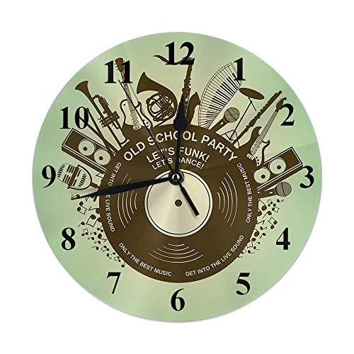 Reloj musical Instrumentos musicales Disco de vinilo Nota Fiesta de jazz Guitarra Reloj de pared redondo Slient Sin tictac Decoración rústica para el hogar 10 pulgadas para cocina Baño Oficina Verde N