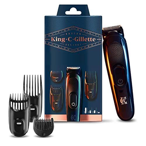 King C. Gillette Schnurloser Bartschneider Kit für Männer mit lebenslangen scharfen Klingen, inkl. 3 austauschbaren Haarschneidekämmen, britischer Zweipol-Stecker, Geschenk-Set für Ihn/Vater